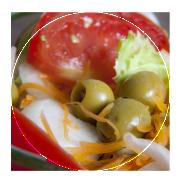 Lechuga, tomate, cebolla, zanahoria y aceituna verde: 4,50 €